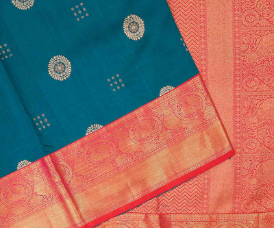 Blue Woven Design Tussar Saree With Red Kanchipuram Grand Pallu And Border