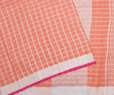 Peach Blouse with Pink Checked Linen Saree