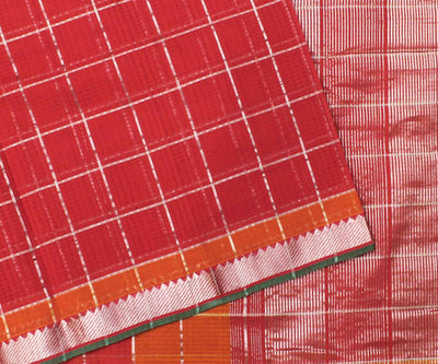 Red with Orange Mangalgiri Cotton Saree - With Blouse
