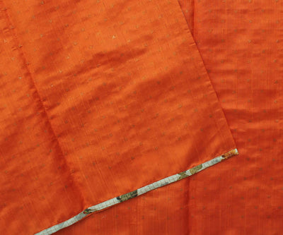 Tangerine Bailu with Pistacho Floral Tussar Half and Half Saree