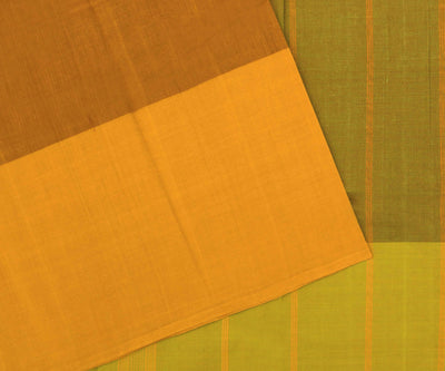 Standstone Orange Cotton Saree With Green Pallu With Mustard Long Border