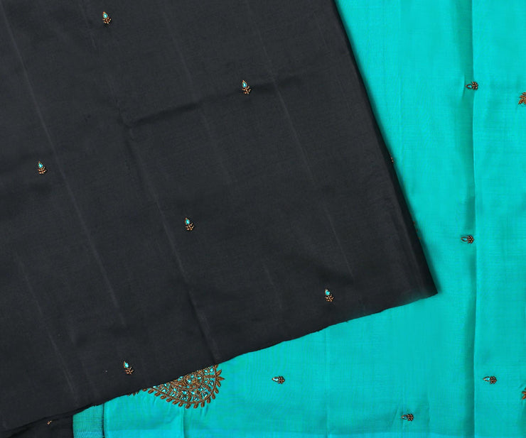 Black Kanchi Silk Saree with Blue Pallu Crafted with Antique Zardosi Embroidery-With Blouse