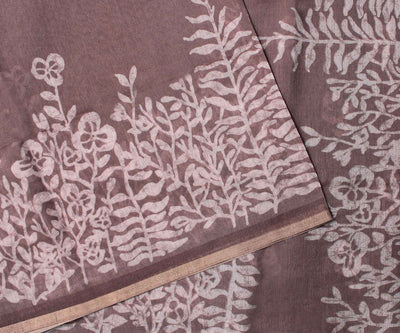 Mauve Double Shade Linen Saree With Batik Crepers Design -With Blouse