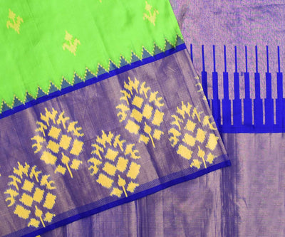 Lime Green Ikkath Pochampalli Silk Saree With Blue Temple Long Border