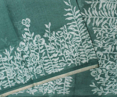 Teal Double Shade Linen Saree With Batik Crepers Design -With Blouse