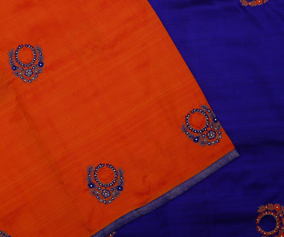 Red Colour Kanchi Silk Saree with Blue Pallu and Blouse Crafted with Jewellery Butta Embroidery