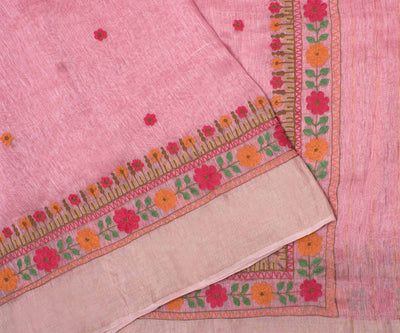 Pink Linen Saree With Embroidery
