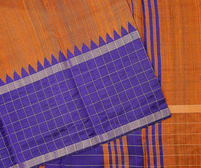Orange And Violet Dupion Silk Saree