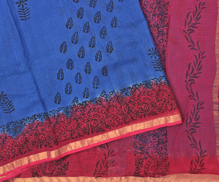 Hot Pink and Royal Blue Manipur Cotton Saree with Block Print - With Blouse