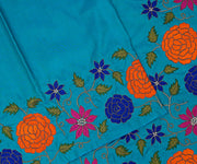 Blue Kanchi Silk Saree Crafted with Floral Embroidery In Border and Pallu
