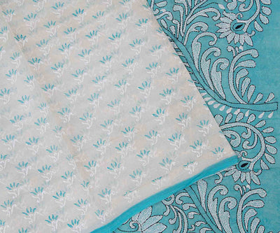 Pastel Blue Hand Block Printed Bengal Cotton Saree With Kantha Work