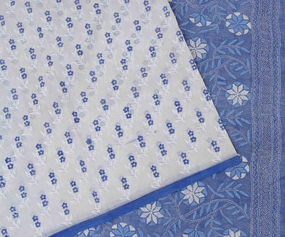 Indigo Hand Block Printed Bengal Cotton Saree