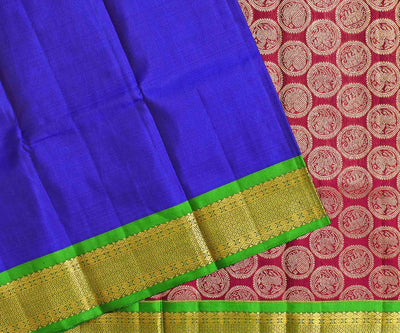 Ms Blue Kanchi Silk Saree With Parrot Green Border And Magenta Animal Butta Blouse