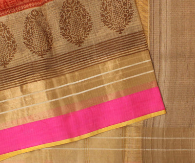 Light Orange Kota Silk Saree With Attached Blouse
