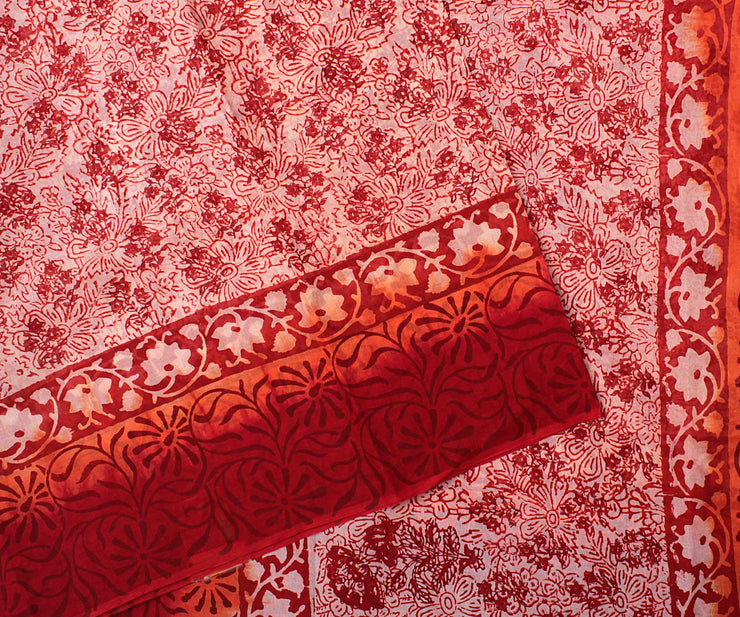 Salmon Printed  Cotton Saree With Red Printed Blouse