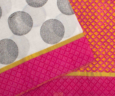 Pink and Blue Hand Block Printed Bengal Cotton Saree With Kantha Work And Attached Blouse