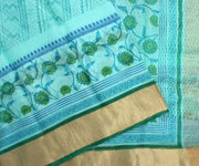 Light Blue Kota Silk Saree with Attached Blouse