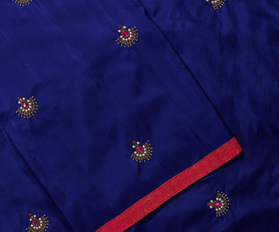 Navy Blue Kanchi Silk Saree Crafted with Small Pearl Jewellery Butta