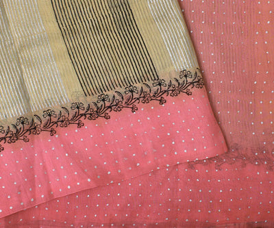 Sandal and Pink Manipur Cotton Saree With Block Print - With Blouse