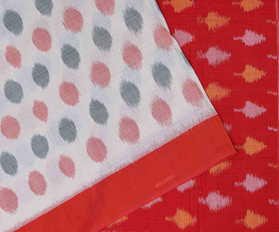 Red and White Ikkat Cotton Saree