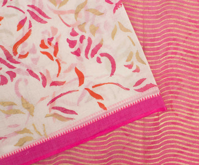Multi Colour Hand Block Printed Bengal Cotton Saree With Blouse
