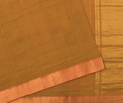 Mustard with Orange Mangalgiri Cotton Saree - With Blouse
