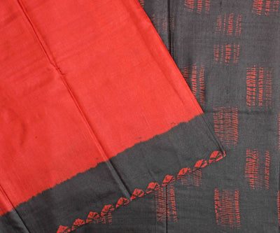 Blush Red Tussar Saree With Stone Grey Blouse