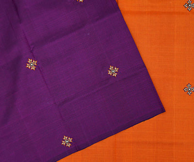Purple Kanchi Silk Saree With Orange Pallu And Blouse Crafted With Floral Kundan Embroidery