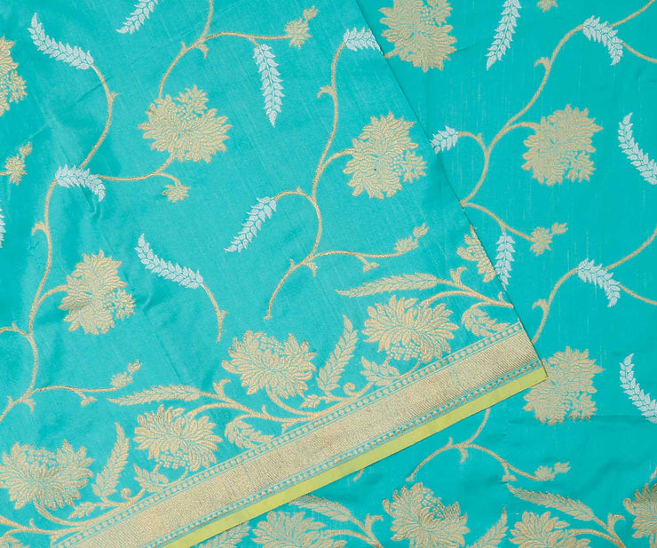 Blue Color Banarasi Silk with Natural Tussar Half and Half