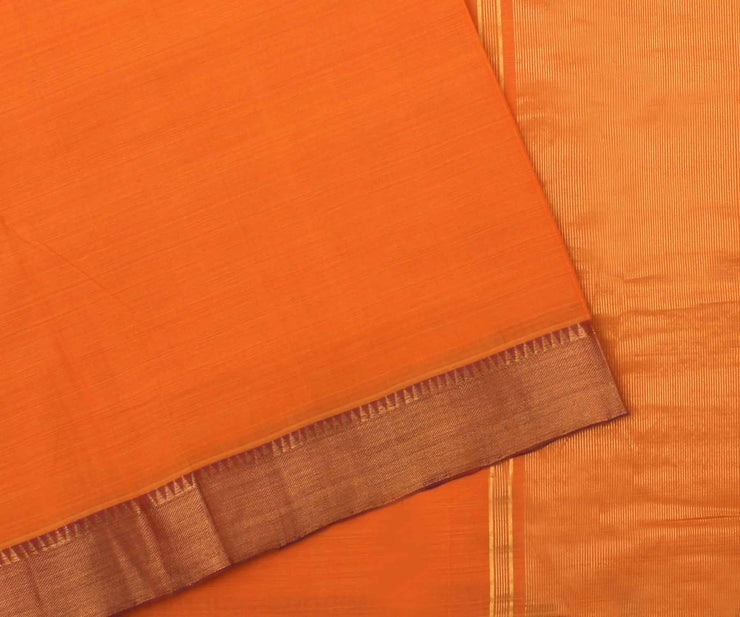Orange with Purple Cotton Saree - With Blouse