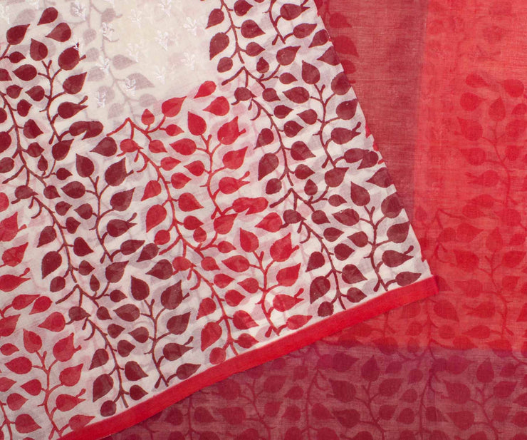 Red Hand Block Printed Bengal Cotton Saree - With Blouse
