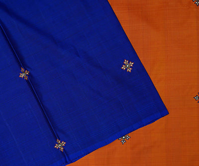 Blue Kanchi Silk Saree With Orange Pallu And Blouse Crafted With Floral Kundan Embroidery