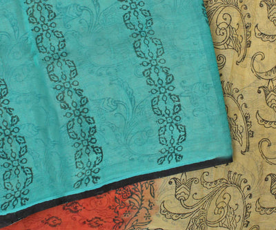 Multicolor Manipur Cotton Saree with Block Print - With Blouse
