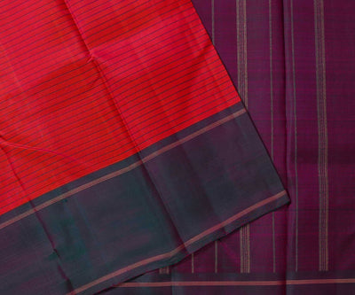 Reddish Pink Kanchi Silk Saree with Lines and Mandhalir Color Border and Pallu