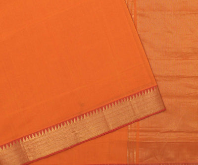 Orange With Red Cotton Saree-With Blouse