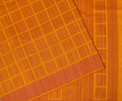 Orange Checked Chanderi Spun Saree