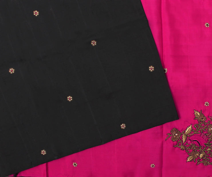 Black Kanchi Silk Saree with Hot Pink Pallu Crafted with Parrot Zardosi and French Knot Embroidery - With Blouse
