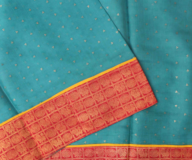 Blue Bailu Saree With Red Kanchi Long Border And Yellow Banarasi Border