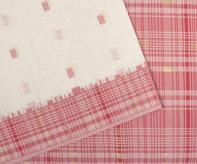 Red and White Printed Cotton Saree With Checked Border And Blouse