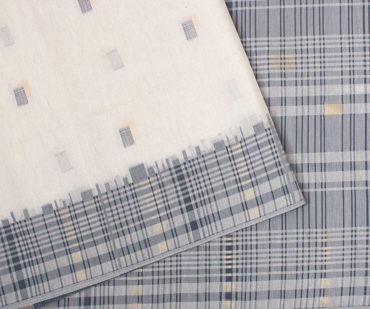 Light Blue and White Printed Cotton Saree with Checked Border and Blouse