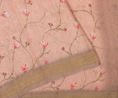 Peach Linen Saree With Floral Print And Blouse