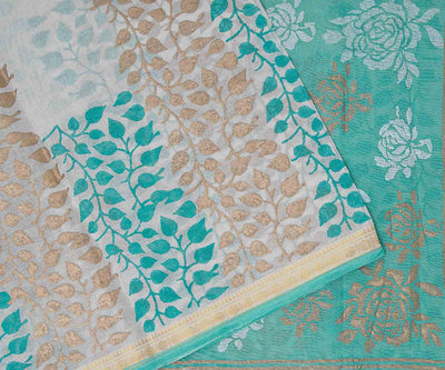Sapphire Green Hand Block Printed Bengal Cotton Saree