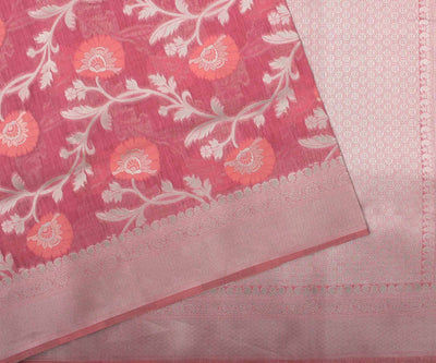 Pink Banarasi Saree With Attached Blouse