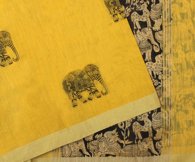 Yellow Supernet Saree With Elephant Print - With Blouse