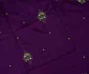 Purple Kanchi Silk Saree Crafted With Leaf Embroidery