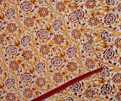Mustard Chanderi Half and Half Floral Block Printed Saree