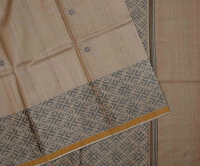 Natural Color Woven Tussar Saree with Black Border