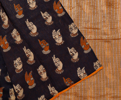 Mustard Colour Tissue Tussar with Mudra Printed Half and Half Saree