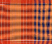 Orange And Black Checked Cotton Saree With Striped Border