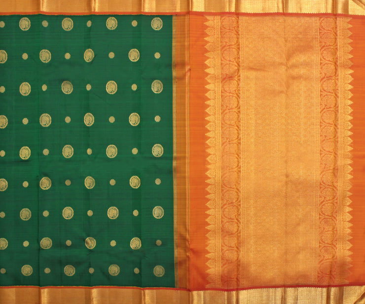 Forest Green Silk Saree with Annapakshi Buttas and Attached Blouse